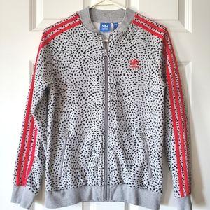 Adidas Girls Zip Up Sweatshirt Gray w/Hearts Sz L